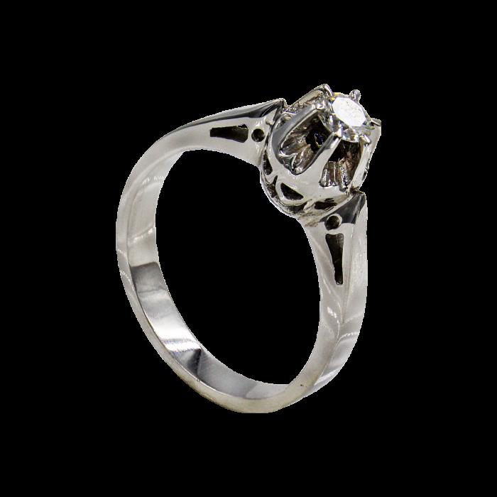 Μονόπετρο δαχτυλίδι λευκόχρυσο 18Κ - MDB1412