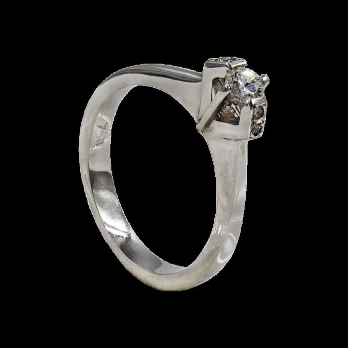 Μονόπετρο δαχτυλίδι λευκόχρυσο 18Κ - MDB1448