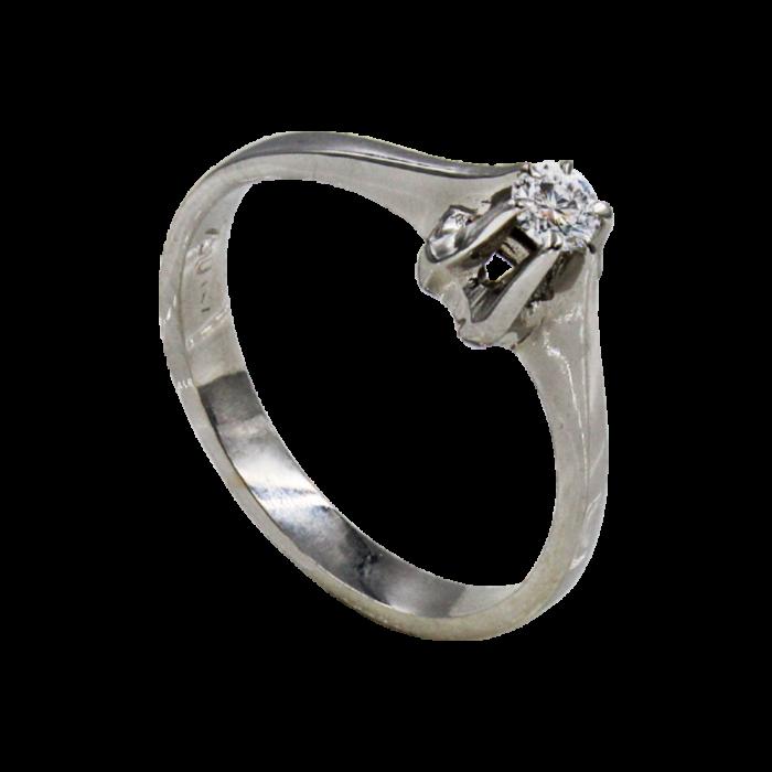 Μονόπετρο δαχτυλίδι λευκόχρυσο 18Κ - MDB1455