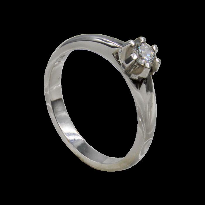 Μονόπετρο δαχτυλίδι λευκόχρυσο 18Κ - MDB1489