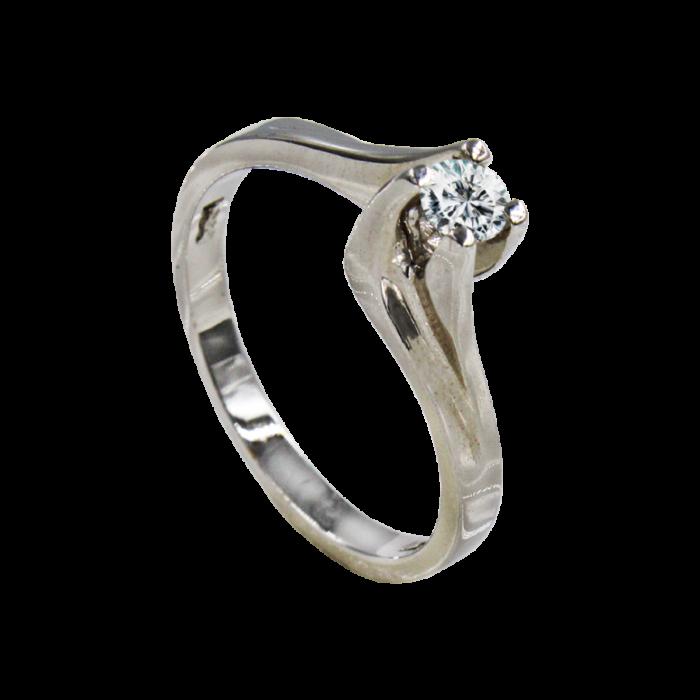 Μονόπετρο δαχτυλίδι λευκόχρυσο 18Κ - MDB2070