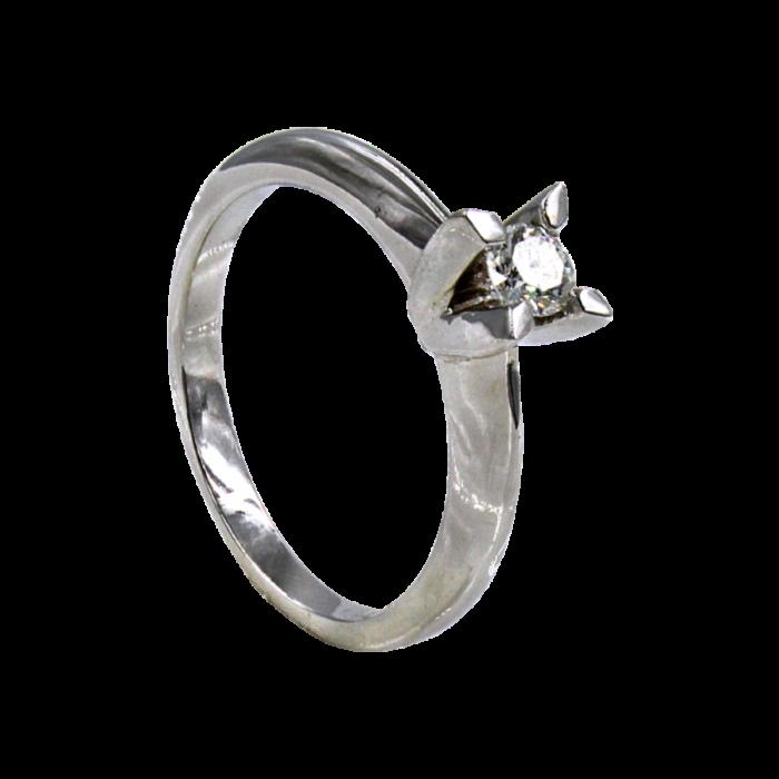 Μονόπετρο δαχτυλίδι λευκόχρυσο 18Κ - MDB2071