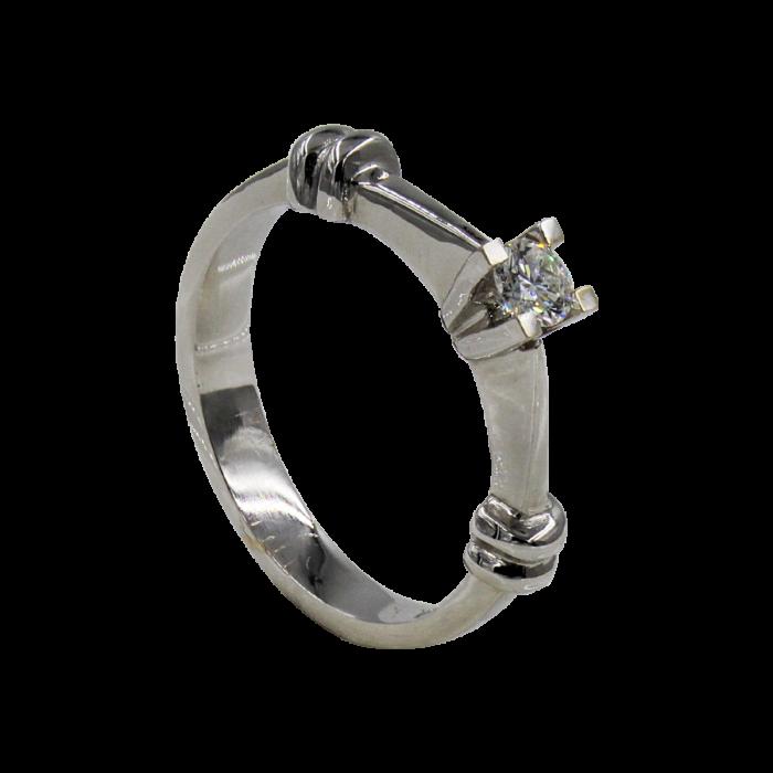Μονόπετρο δαχτυλίδι λευκόχρυσο 18Κ - MDB781