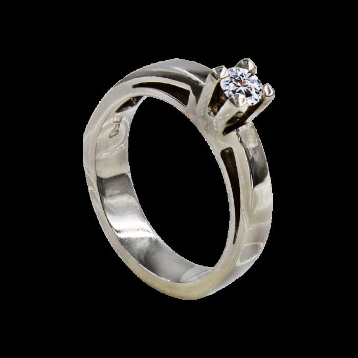 Μονόπετρο δαχτυλίδι λευκόχρυσο 18Κ - MDB938