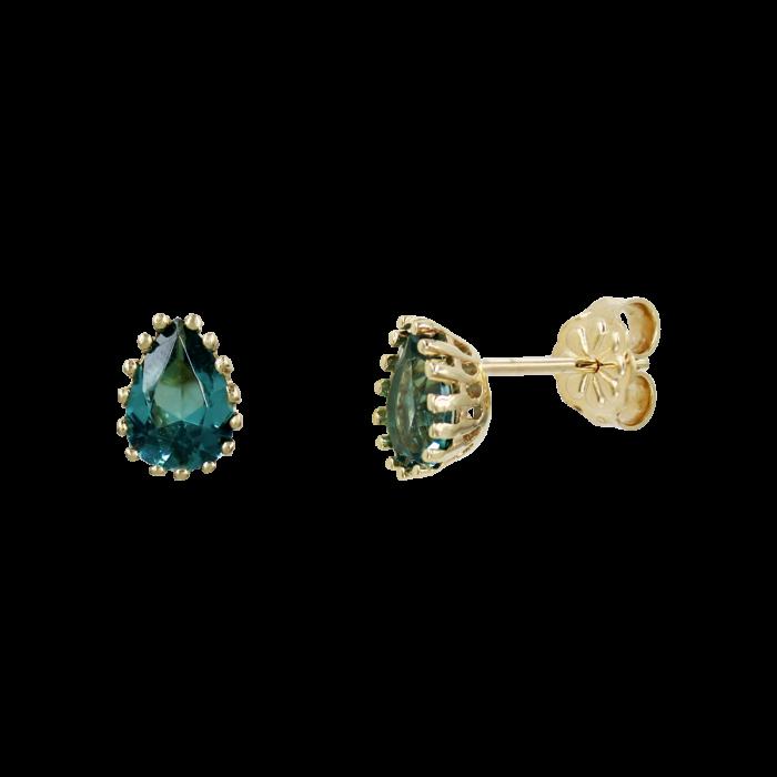 Σκουλαρίκια Δάκρυ Χρυσά 14Κ Με Ζιργκόν Πέτρες - S1183