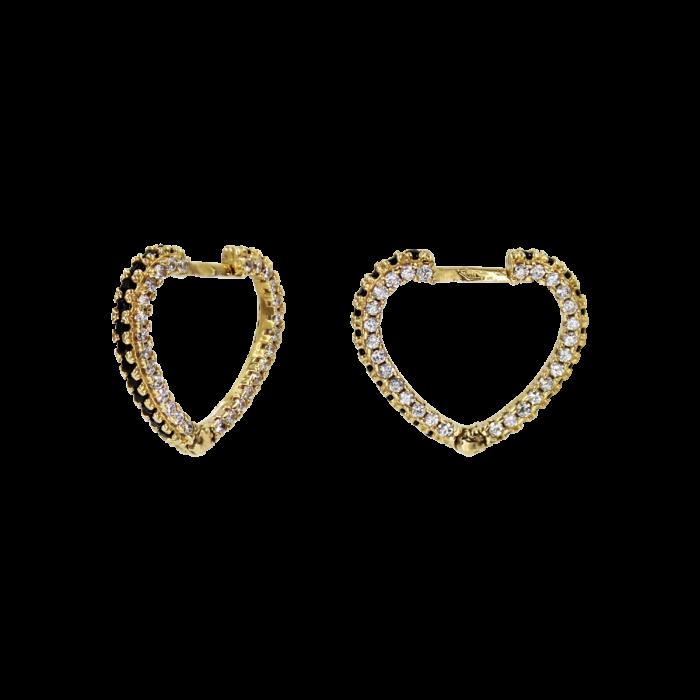 Σκουλαρίκια Κρίκοι Καρδιά Χρυσά 14Κ - SK1064