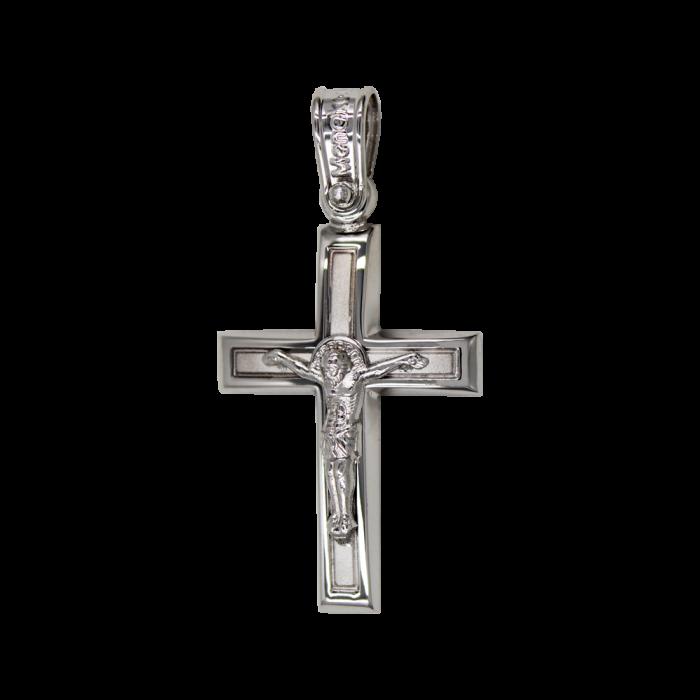 Ανδρικός Λευκόχρυσος Σταυρός 14Κ - ST1578