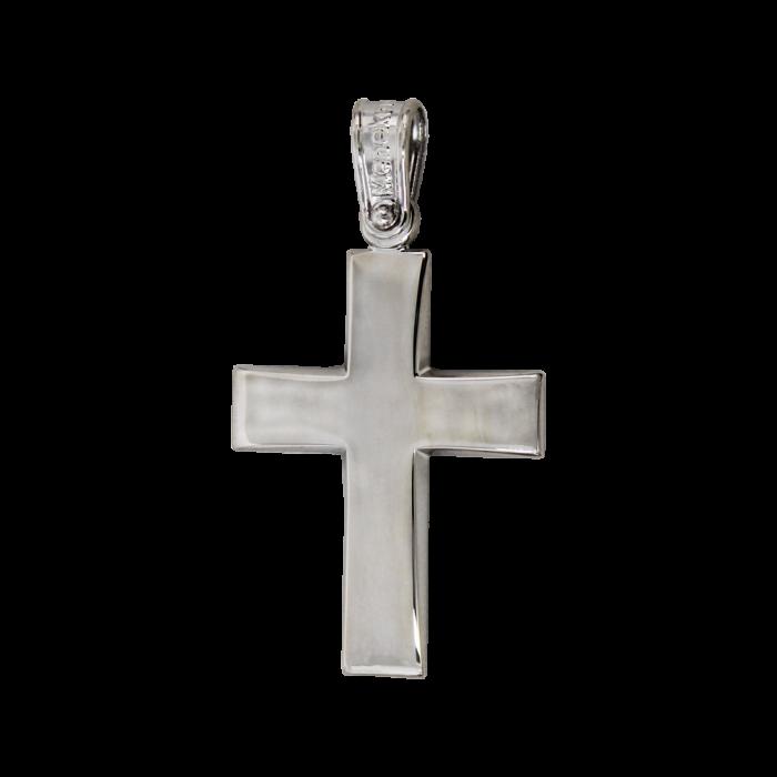 Ανδρικός Λευκόχρυσος Σταυρός 14Κ - ST1583