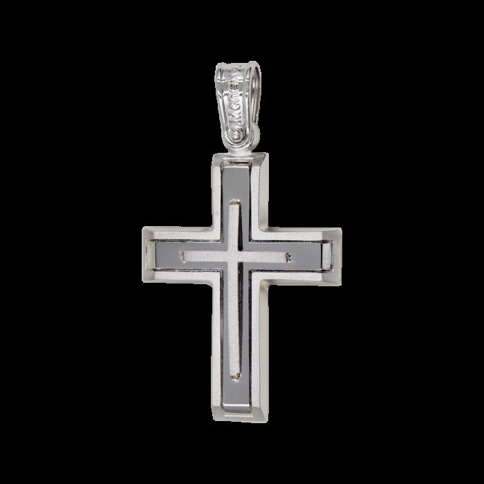 Ανδρικός Λευκόχρυσος Σταυρός 14Κ - ST1584