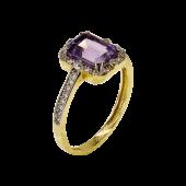 Δαχτυλίδι χρυσό με ζιργκόν πέτρες 14Κ - D1009_0