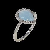 Δαχτυλίδι δάκρυ λευκόχρυσο με ζιργκόν πέτρες 14Κ - D1071_0