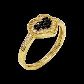 Δαχτυλίδι καρδιά χρυσό με ζιργκόν πέτρες 14Κ - D51600_0