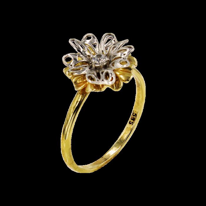 Δαχτυλίδι λουλούδι δίχρωμο 14Κ - D1015