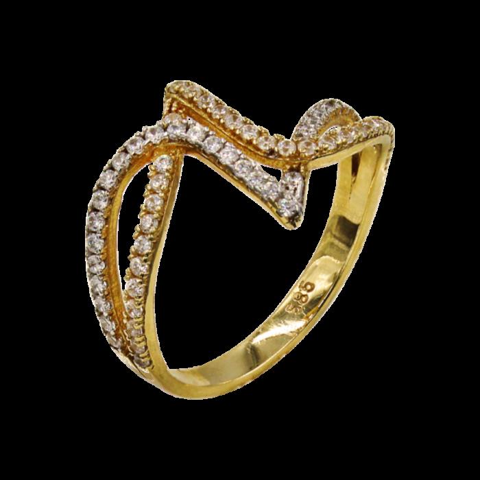 Δαχτυλίδι χρυσό με ζιργκόν πέτρες 14Κ - D1017