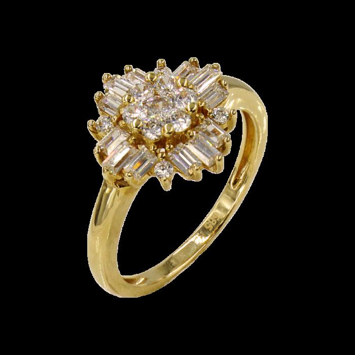 Δαχτυλίδι χρυσό με ζιργκόν πέτρες 14Κ - D1020