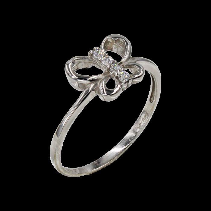 Δαχτυλίδι πεταλούδα λευκόχρυσο με ζιργκόν πέτρες 14Κ - D1023