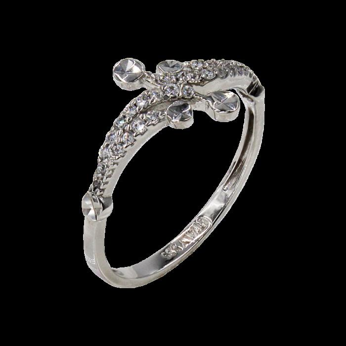 Δαχτυλίδι λευκόχρυσο με ζιργκόν πέτρες 14Κ - D1024
