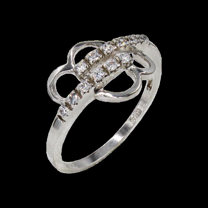 Δαχτυλίδι λευκόχρυσο με ζιργκόν πέτρες 14Κ - D1026