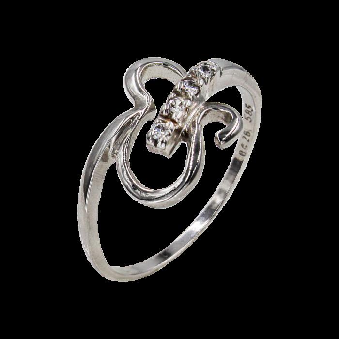 Δαχτυλίδι λευκόχρυσο με ζιργκόν πέτρες 14Κ - D1028