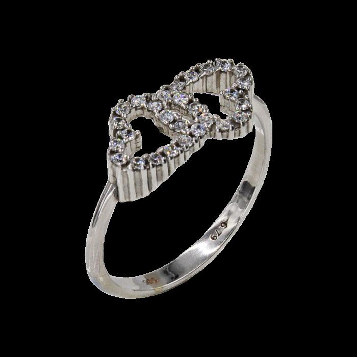 Δαχτυλίδι καρδιές λευκόχρυσο με ζιργκόν πέτρες 14Κ - D1029