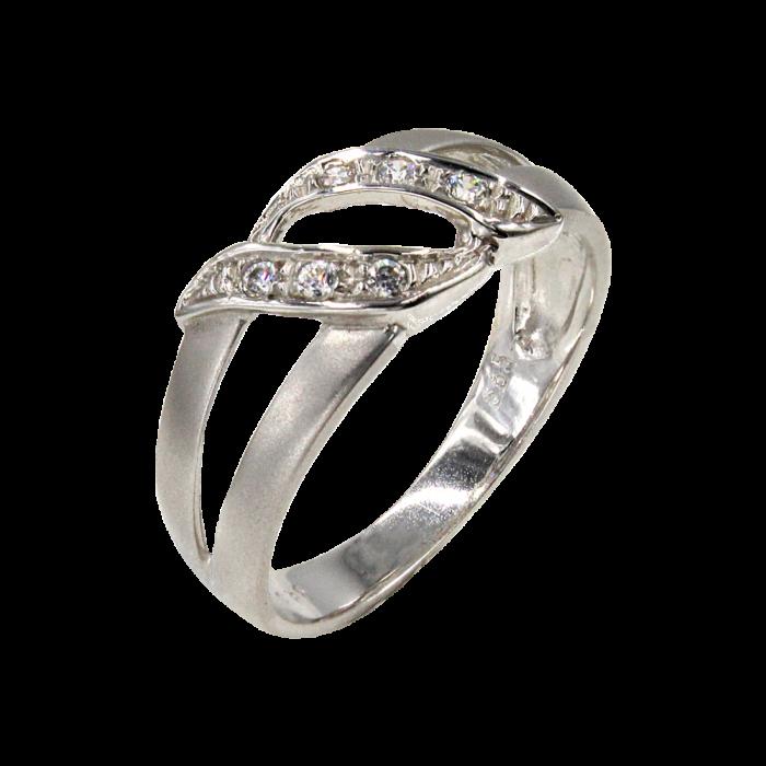 Δαχτυλίδι λευκόχρυσο με ζιργκόν πέτρες 14Κ - D1030