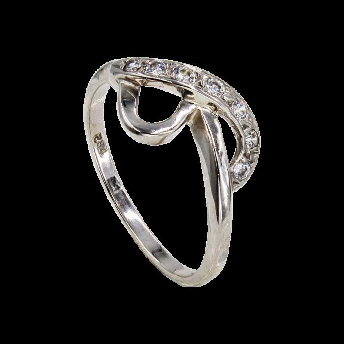 Δαχτυλίδι λευκόχρυσο με ζιργκόν πέτρες 14Κ - D1031