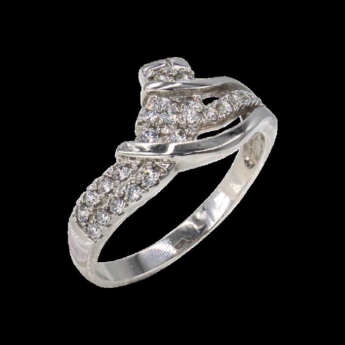 Δαχτυλίδι λευκόχρυσο με ζιργκόν πέτρες 14Κ - D1032