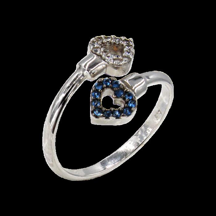 Δαχτυλίδι καρδιές λευκόχρυσο με ζιργκόν πέτρες 14Κ - D1033