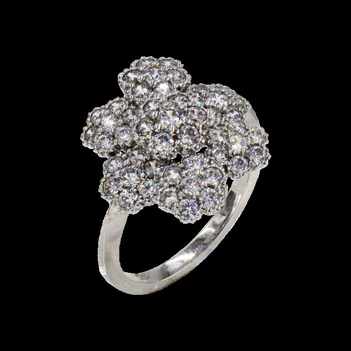 Δαχτυλίδι λευκόχρυσο με ζιργκόν πέτρες 14Κ - D1034