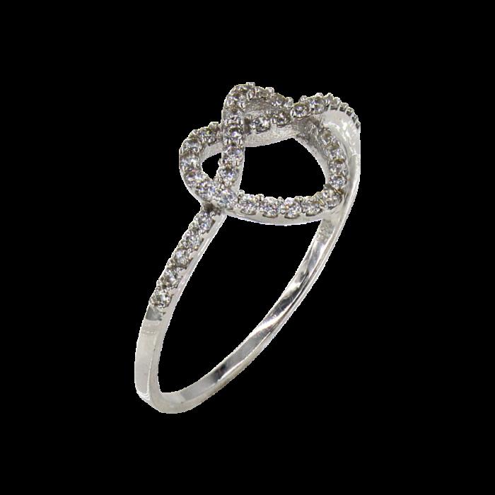Δαχτυλίδι καρδιά-κόμπος λευκόχρυσο με ζιργκόν πέτρες 14Κ - D1039
