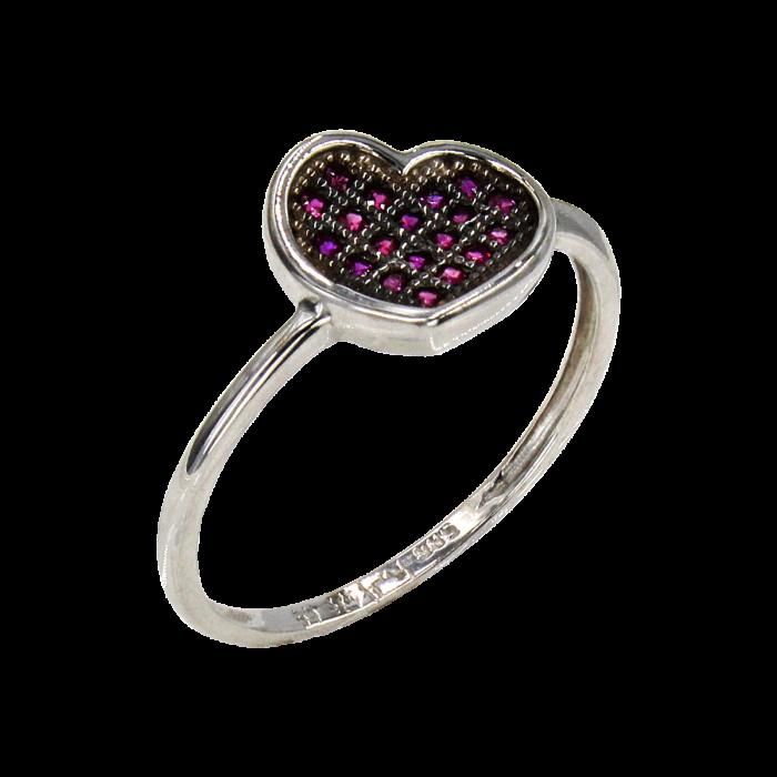Δαχτυλίδι καρδιά λευκόχρυσο με ζιργκόν πέτρες 14Κ - D1040