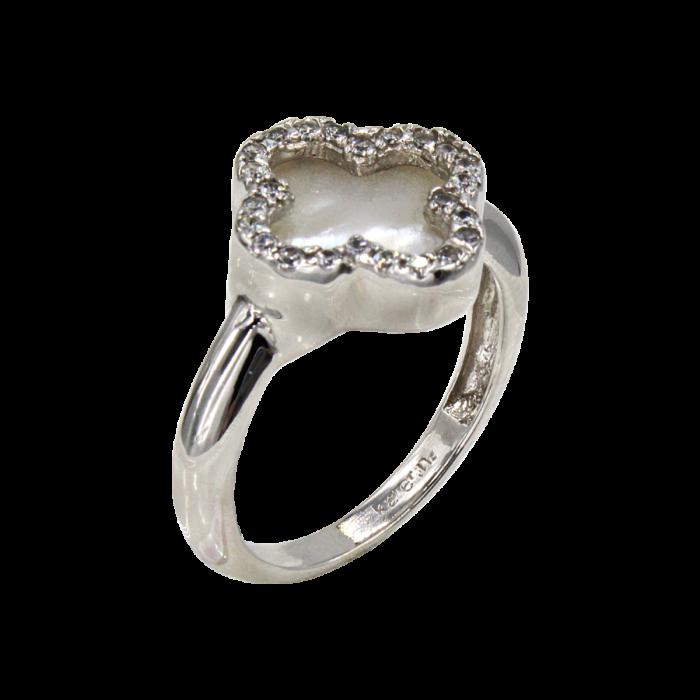 Δαχτυλίδι βανκλίφ λευκόχρυσο με ζιργκόν πέτρες 14Κ - D1044