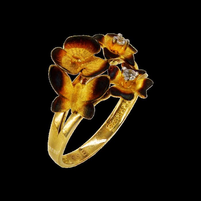 Δαχτυλίδι χρυσό με ζιργκόν πέτρες 14Κ - D1054