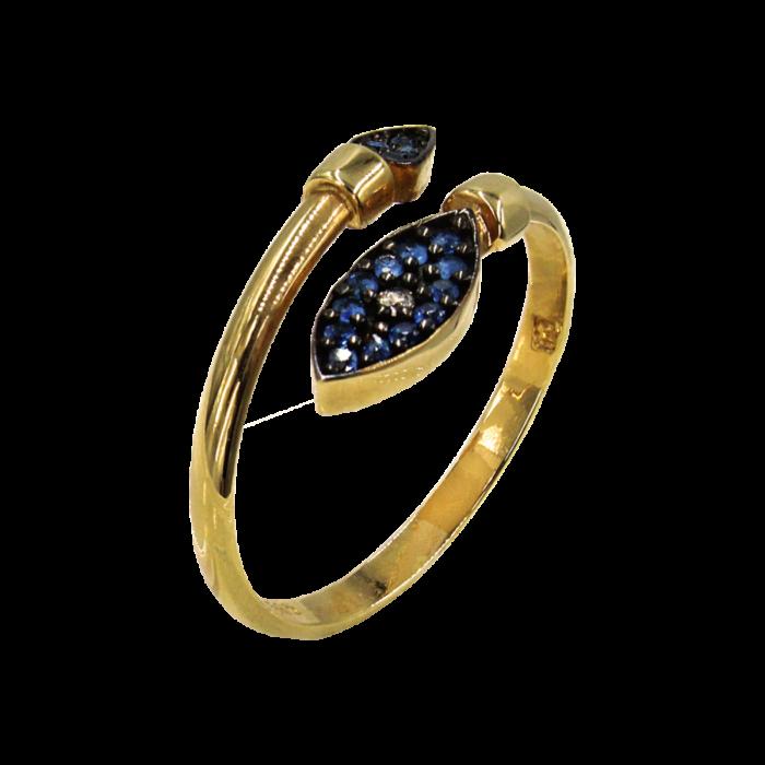 Δαχτυλίδι χρυσό με ζιργκόν πέτρες 14Κ - D1055