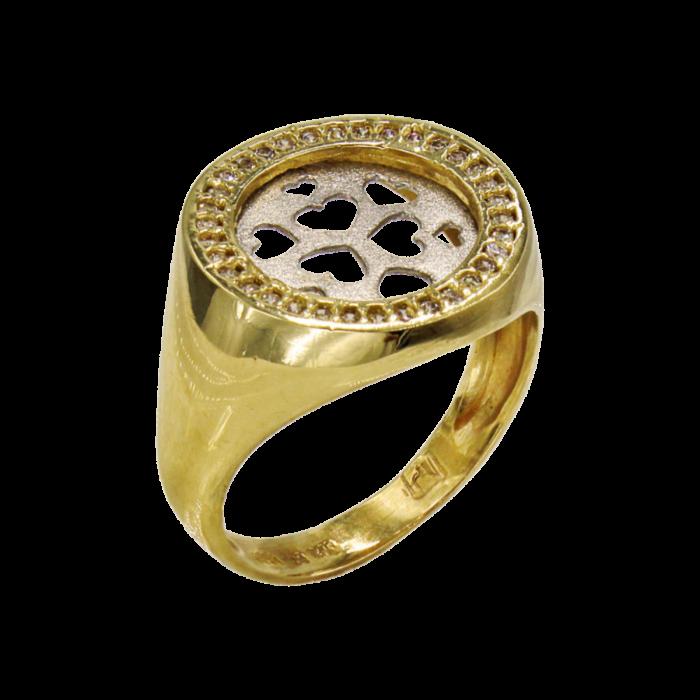 Δαχτυλίδι δίχρωμο με ζιργκόν πέτρες 14Κ - D1057