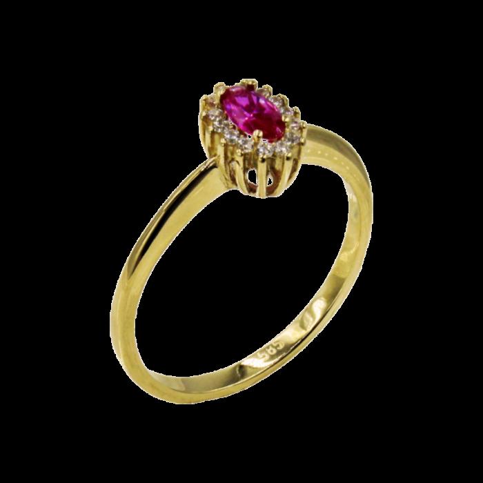 Δαχτυλίδι ροζέτα χρυσό με ζιργκόν πέτρες 14Κ - D1060
