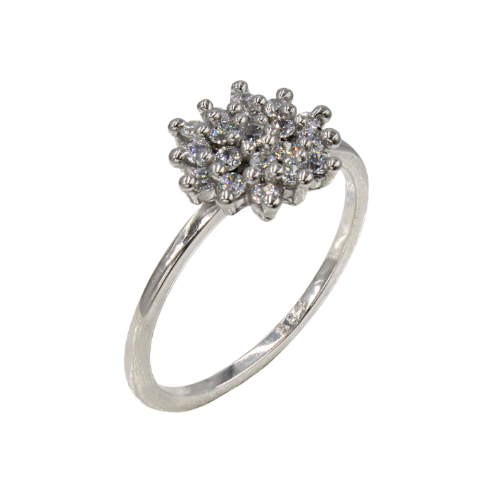 Δαχτυλίδι λευκόχρυσο με ζιργκόν πέτρες 14Κ - D1062