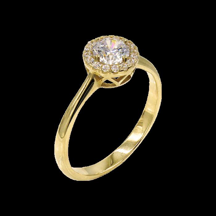 Δαχτυλίδι ροζέτα χρυσό με ζιργκόν πέτρες 14Κ - D1064K
