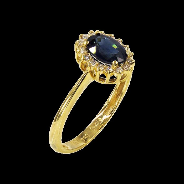 Δαχτυλίδι ροζέτα χρυσό 18Κ με ζαφείρι & διαμάντια - D1069