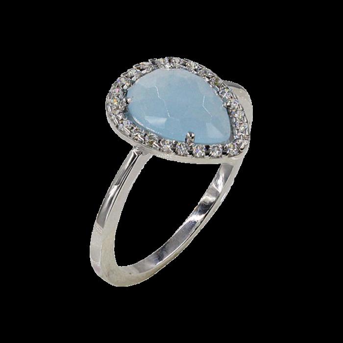 Δαχτυλίδι δάκρυ λευκόχρυσο με ζιργκόν πέτρες 14Κ - D1071