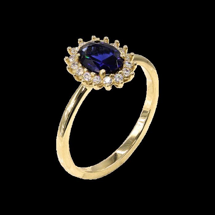 Δαχτυλίδι ροζέτα χρυσό με ζιργκόν πέτρες 14Κ - D1072