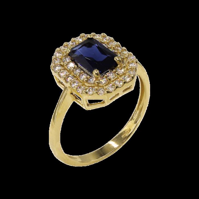 Δαχτυλίδι χρυσό με ζιργκόν πέτρες 14Κ - D1074