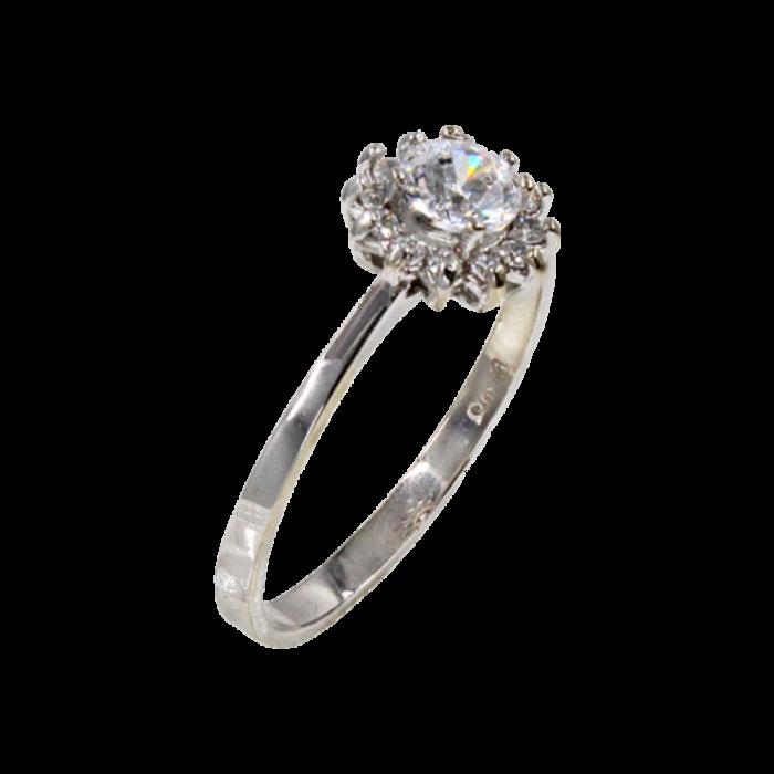 Δαχτυλίδι ροζέτα λευκόχρυσο 14Κ - D1076