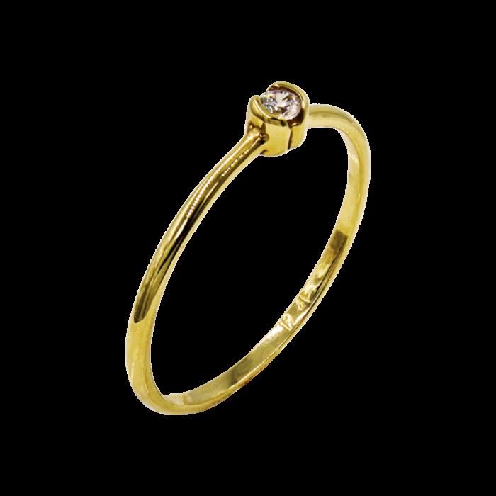 Δαχτυλίδι χρυσό με ζιργκόν πέτρα 14Κ - D2199K