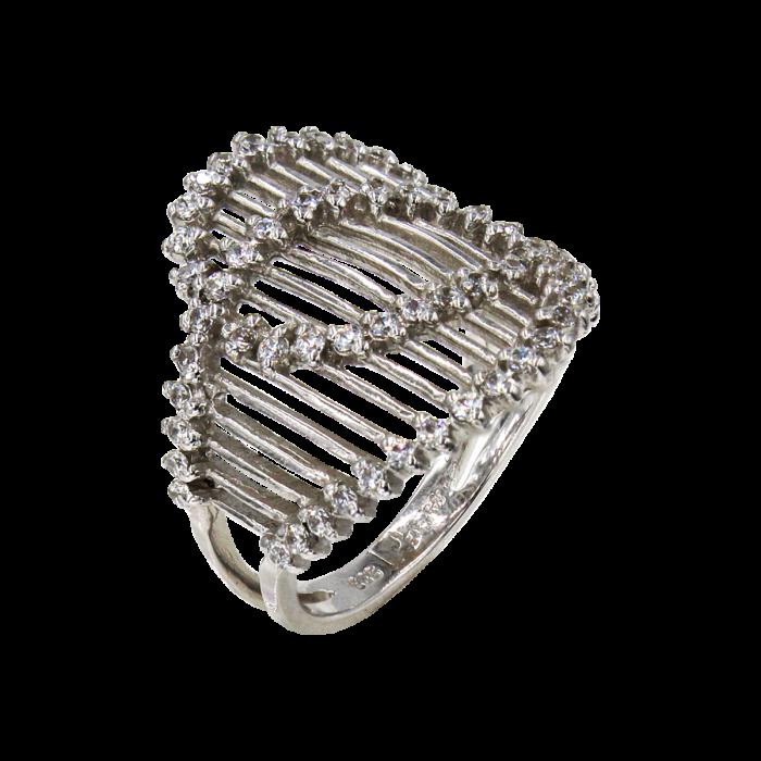 Δαχτυλίδι λευκόχρυσο με ζιργκόν πέτρες 14Κ - D41241