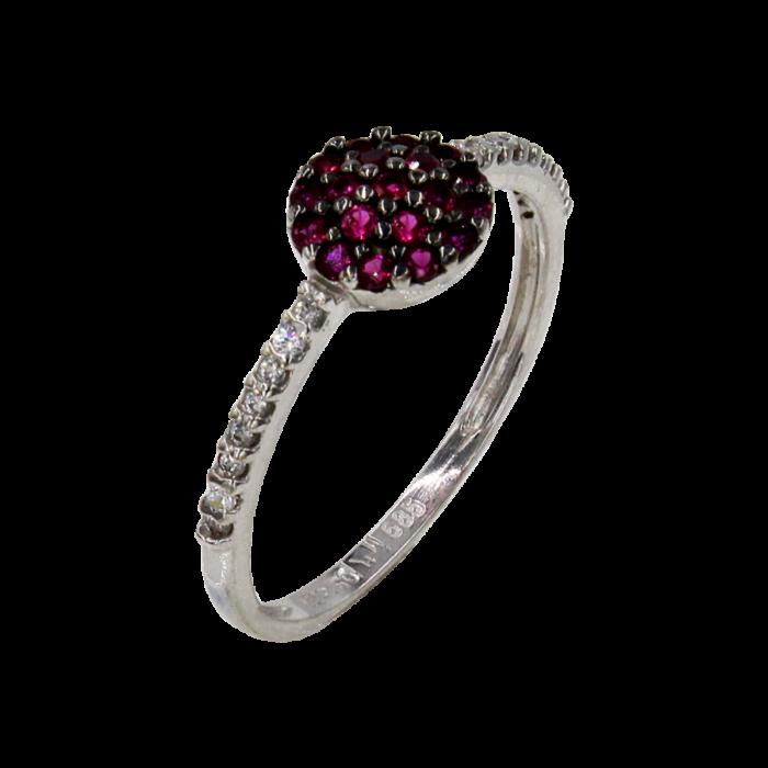 Δαχτυλίδι λευκόχρυσο με ζιργκόν πέτρες 14Κ - D41518