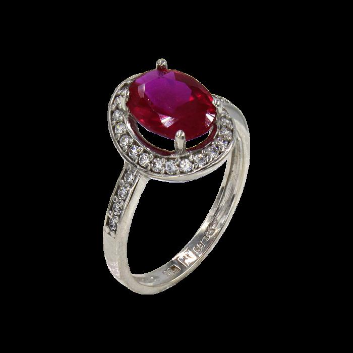 Δαχτυλίδι ροζέτα λευκόχρυσο με ζιργκόν πέτρες 14Κ - D41633