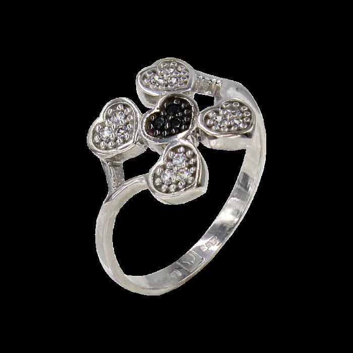 Δαχτυλίδι καρδιές λευκόχρυσο με ζιργκόν πέτρες 14Κ - D41670