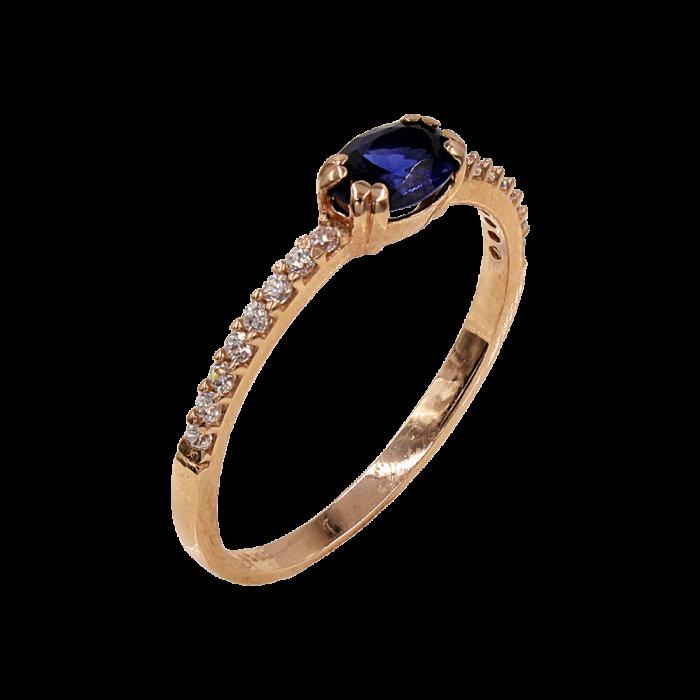 Δαχτυλίδι ροζ χρυσό με ζιργκόν πέτρες 14Κ - D42350