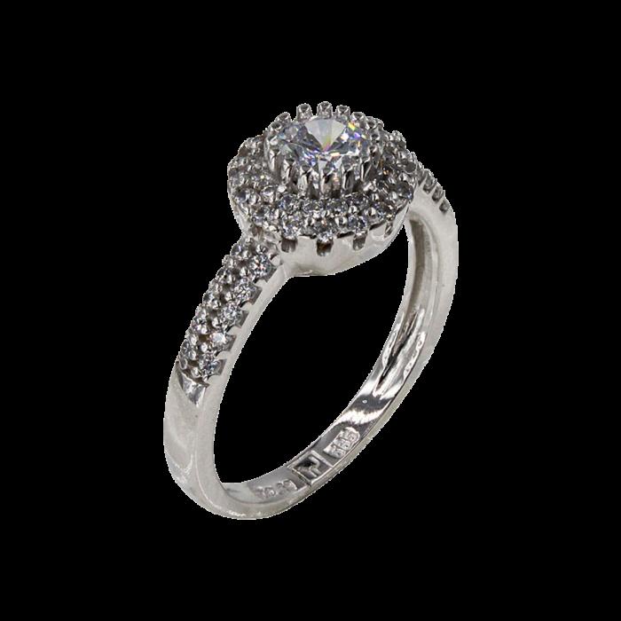 Δαχτυλίδι ροζέτα λευκόχρυσο 14Κ - D42460